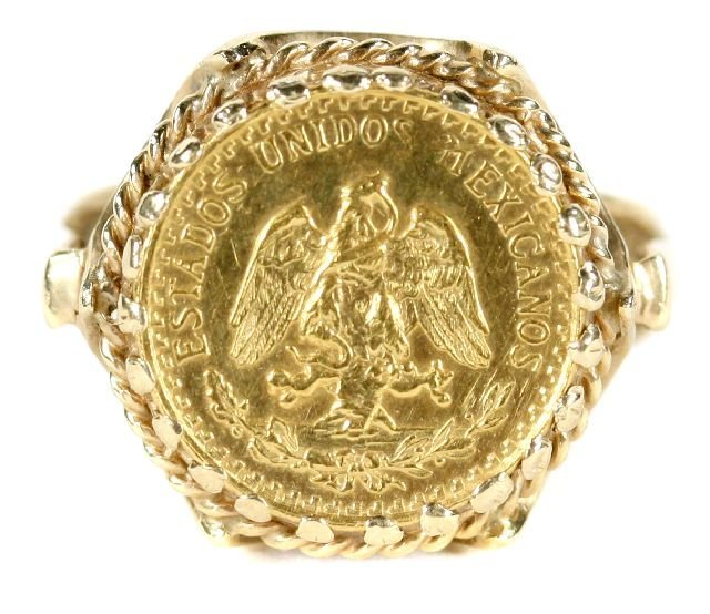 2: A 14kt. Yellow Gold Ring Mounted with a Mexican Two