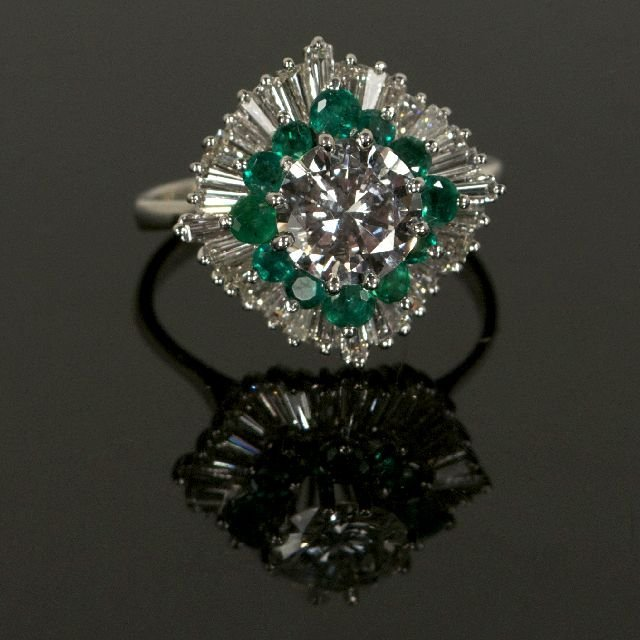 18A: A Platinum Diamond and Emerald Ring,