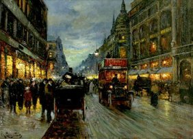 1: Charles Courcelles (19th Century) Paris Street Scene