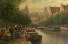 2: Jan Hinrick (19th Century) Dutch Canal Scene with Fl