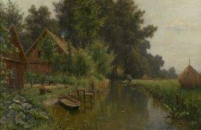 3: Walter Moras (1854-1925) River Landscape with Cottag