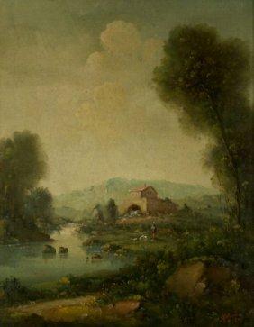 5: C. Patin (20th Century) Pastoral Landscape, Oil on c