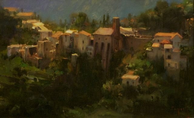 7: Kim English (b. 1957) Village Mountain Scene, Oil on