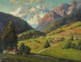 9: R. Hofer (20th Century) Alpine Landscape, Oil on can