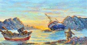 Artist Unknown (20th Century) Fishing Scene, Oil O