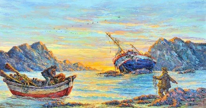 10A: Artist Unknown (20th Century) Fishing Scene, Oil o