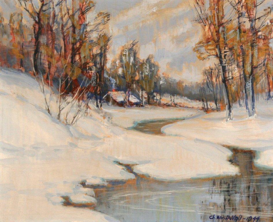 12: Charles William Duvall (1865-1966) Snow Scene, Oil