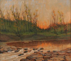 13: Charles William Duvall (1865-1966) Sunset with Stre