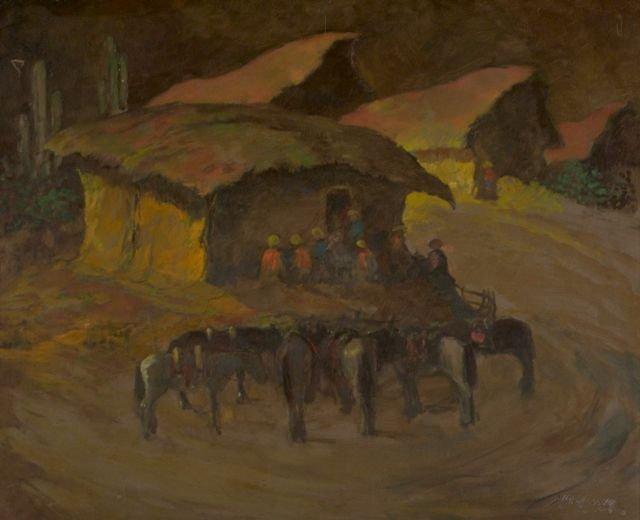 19: Artist Unknown (20th Century) Figures in a Landscap