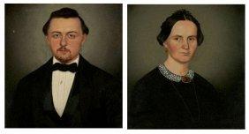 21: American School (19th Century) Portraits of Husband