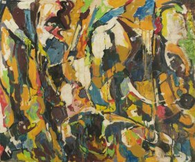 9: Nate Dunn (1896-1983) Abstraction, Oil on board,