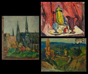 11: A Group of Three Abstract Still Lifes and Landscape