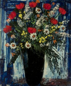 Pierre Mas (b. 1933) Vase Of Flowers, Oil On Board,