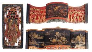 A Group of Three Chinese Carved and Lacquered Pan