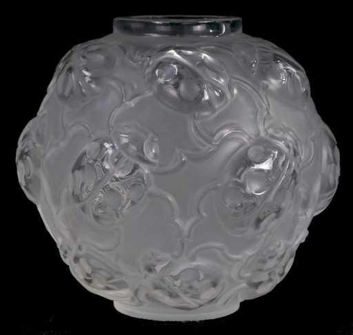 216 A Lalique Molded Glass Bud Vase With Ladybug Motif