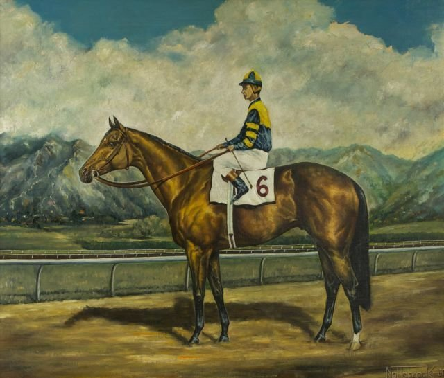 Nottebrock (20th Century) Portrait of a Racehorse