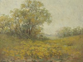Lyda M. Cox (1881-?) Landscape, Oil on board,