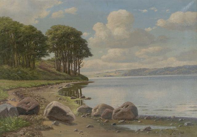 Kai Drews (1884-1964) Rocky Shoreline, Oil on canvas,