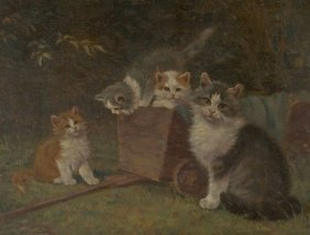 Benno Kögl (1892-1973) Cat with Kittens, Oil on board,