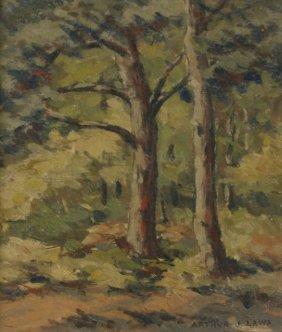 Arthur J. Laws (1894-1960) Two Trees, Oil on board.