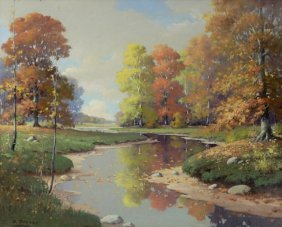 Orrin Draver (1895-1964) River Landscape, Oil On Canvas