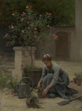 Edouard Debat-Ponsan (French, 1847-1913) Potting Flower
