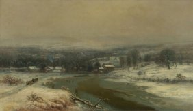 George Durrie (1820-1863) Winter Landscape with River,
