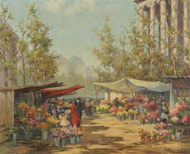 Pierre Deschamps (1895-1969) Flower Vendors,