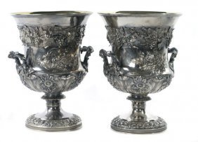 A Pair of Sterling Silver Wine Urns, ca. 1824-5,
