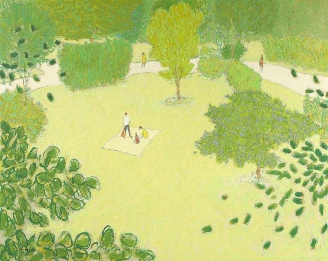 William Anzalone (b. 1926) In the Park, Oil on canvas,