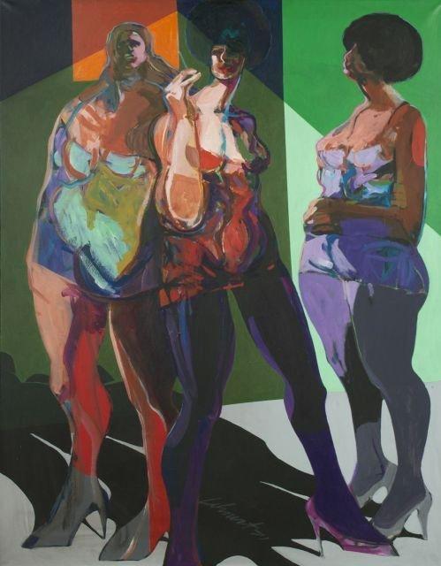 Artist Unknown (20th Century) Three Women, Oil on canva