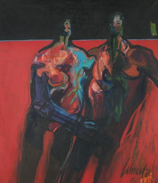 Artist Unknown (20th Century) Abstract Figures, Oil on
