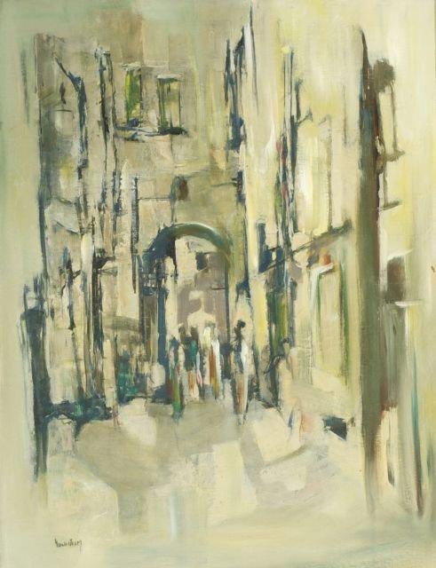 Gundstrim (20th Century) Jerusalem Street Scene, Oil on