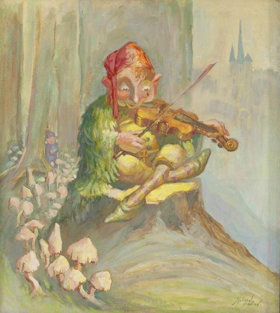 Richard Sedlon (1900-1992) Woodland Fiddler, Oil on mas