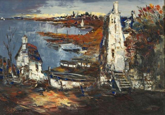 Christopher Charpides (1902-1992) Harbor Scene, Oil on