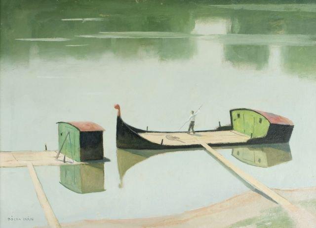 Ivan Polya (1889-1939) Canal Scene, Oil on canvas,