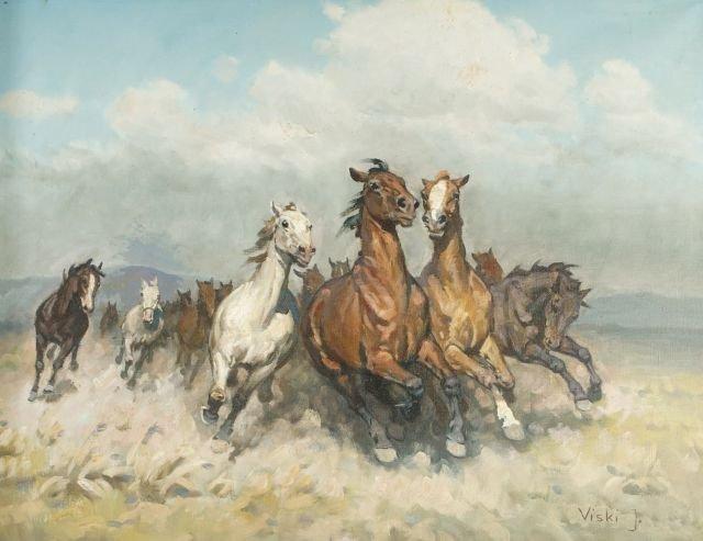 Janos Viski (1891-1987) Galloping Horses, Oil on canvas