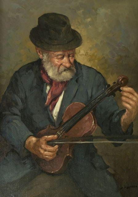 M. Battara (20th Century) Portrait of a Violinist, Oil
