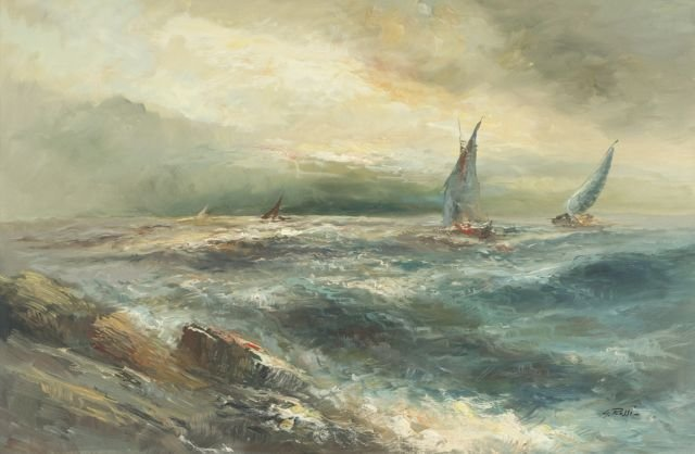 G. Rossi (20th Century) Rocky Shoreline, Oil on canvas,