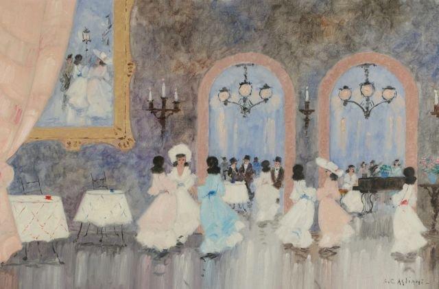 Luigi Cagliani (20th Century) Ballroom, Oil on canvas,