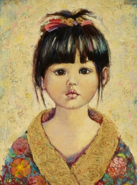 Mary Vickers (20th Century) Oriental Charm, Oil on boar