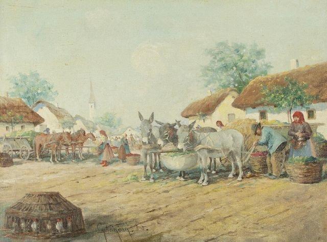 Guyla Nemeth Gutahazy (1880-1935) Market Scene, Oil on
