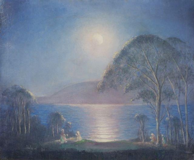Esau J. Halow (Syrian-American, b. 1860) Moonlit Pond,