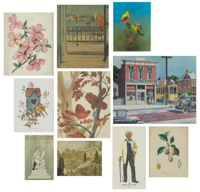 A Miscellaneous Collection of Framed Decorative Items b