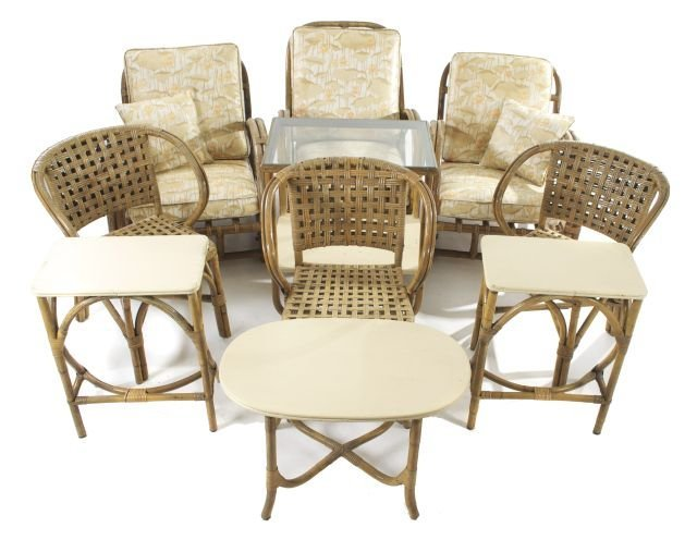 A Set Of Vintage White Craft Rattan Furniture By Reed,