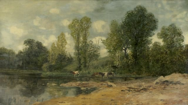 James Isiah Lewis (1860-1934) River Scene with Cattle,