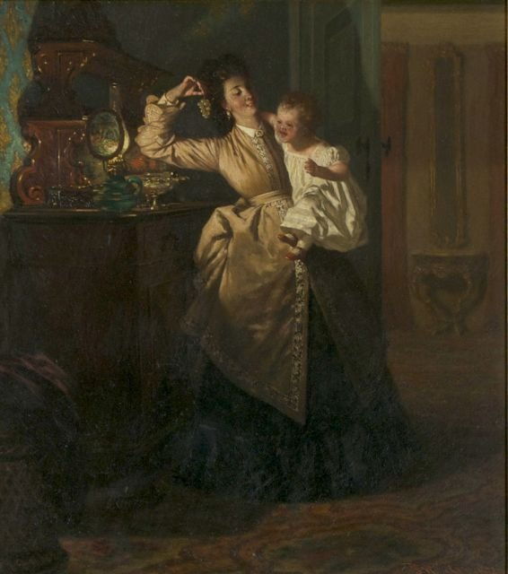 Peter W. Sebes (1827-1906) Interior Scene with Mother a