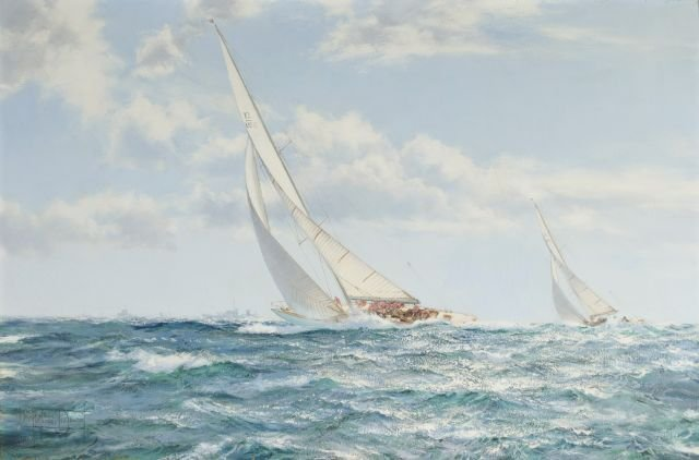 Montague J. Dawson (1895-1973) The America's Cup Race 1