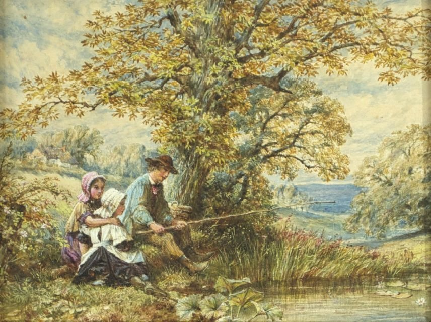 James Wells Champney (1843-1903) Summer Fishing, Waterc