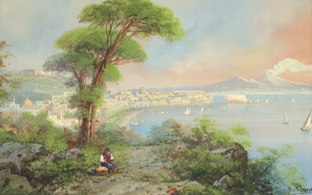 Y. Gianni (19th/20th Century) The Bay of Naples, Waterc